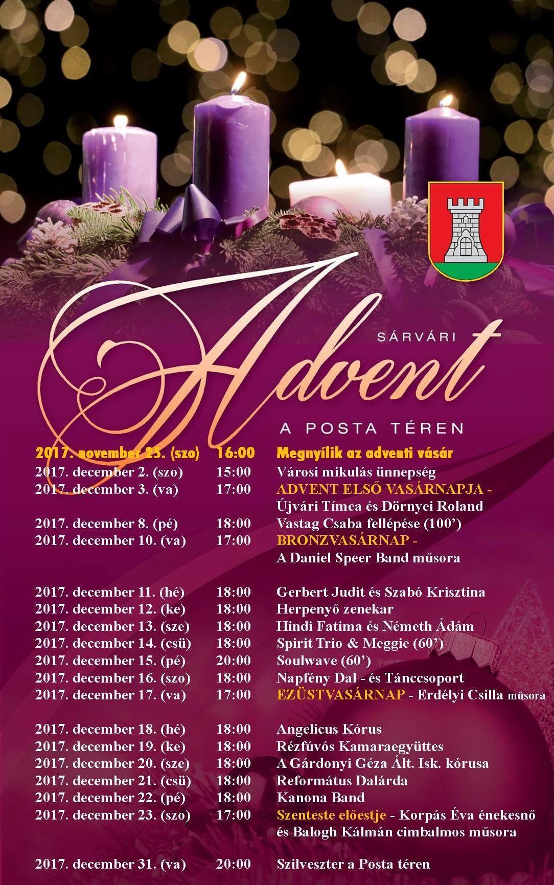 Sárvári Advent programok